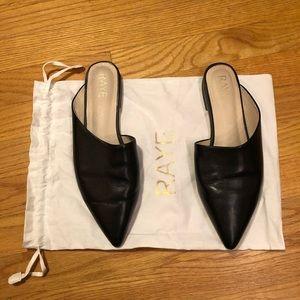 RAYE Pointy Toe Slides in Black